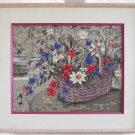 Vintage Needlepoint Flowers in Basket Daisy Tabletop Still Life Pink Frame Huge