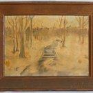Central Park NYC Vintage Modernist Landscape Original Painting Harry Kramer 68