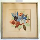 Vintage Antique Art Deco Still Life Watercolor Flowers Tropical Frame Bold Color