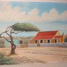 Vintage Folk Art H Patist Bahamas Original Tropical Painting Cottage Windblown