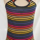 Sonia Rykiel Striped Crop Camisole Top NOS Deadstock Exposed Seam Sparkle M