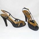 Sonia Rykel Platform Peep Toe Strappy Retro SR Logo Sandals Shoes Metallic 39
