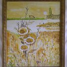 Vintage Original Painting Modernist Landscape MAE Lighthouse Sunrise Sunflower