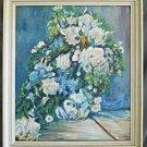 Vintage Original Oil Painting Impressionist Vase Flower Still Life CR Roskamp 65