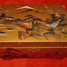 Vintage Japanese Music Jewelry Box Hand Painted Wood Sonsco Japan Scene Mt Fuji