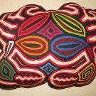 Throw Pillow Kuna Mola Crab Cut Out Panama Vintage Needlework Folk Art Fish