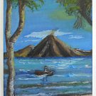 Folk Art Vintage Painting Celia Rodriguez Gomez Guatemala Volcano Lake Atitlán