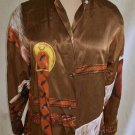 Blouse Equistrian NOS Riding Shirt Byblos Print Horse Bridle Silk Equestrienne