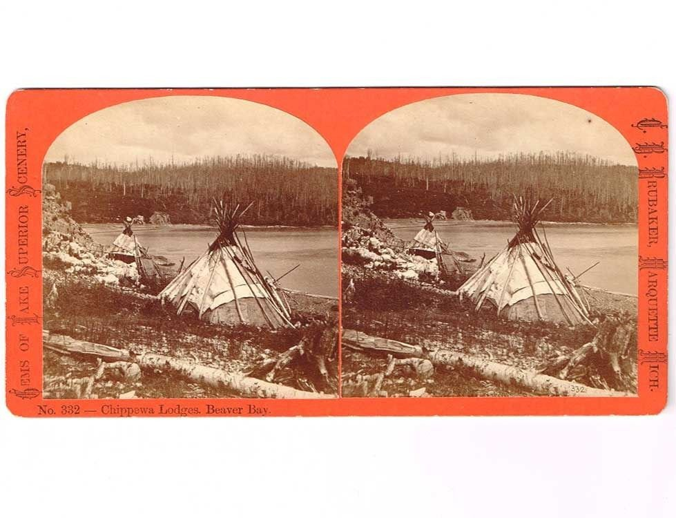 Stereoview Chippewa Lodges Beaver Bay Indian Tipi Brubaker #33 Marquette Mich.