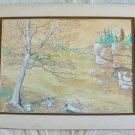 Vintage Vestal Rogers Watercolor Painting Pasture Cows Monochromatic Romantic