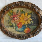 Vintage Oil Painting Still Life Flower Impasto Regency Gilded Carved  Frame Oval