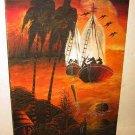 Painting Haunted Original Oil Sterlin Ghost Boat In Orange Night Tropics Vintage