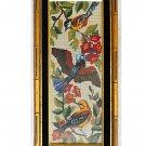 Ornithology Vintage Needlepoint Birds Branch Flowers Regency Gold Bamboo Frame