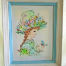 Vintage Painting Jean Original Oil Impasto Gir Flower Hat Bird Frame Ornithology