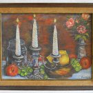 Vintage Oil Painting Still Life Roses Fruit Silver Candlestick Marie Finney  75