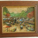 Asian Painting Oil Impressionist Vintage Water Market Signed Greco Framed
