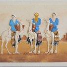 Vintage Middle Eastern 3D Sand Painting Bedouin Camel Desert 3 Kings Fanid H