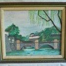 Modern Painting Japanese Royal Garden Signed M Lindholm 68 Vintage