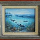 C Benolt Dolphin Fish Underwater Vintage Original Painting  Marine Life Seascape