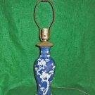Antique Lamp Chinese Porcelain Pottery Cobalt Blue White Flowers Dogwood Urn