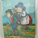 Needlepoint Vintage Antique Illustration Heidi Fairy Tale Swiss Children Flowers