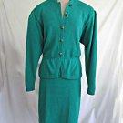 Vintage St John Marie Gray Puff Slim Skirt Suit 10 Jacket Stand Collar Green