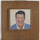 Ronald Reagan Vintage Southern Outsider Folk Art Tile Painting Dicker Political