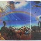 Tile Mural Painted Noahs Ark Animals Rainbow  6 Tile Wall Hanging Tabletop