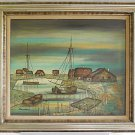 France Vintage Painting Fishing Village Normandy French Seascape Framed Daumier