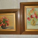 Pair Paintings Still Life Flowers Bouquet Vintage Oil Romantic Matching Framed