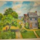 Landscape Southern Folk Art Vintage Painting Margaritte Ryner Victorian House