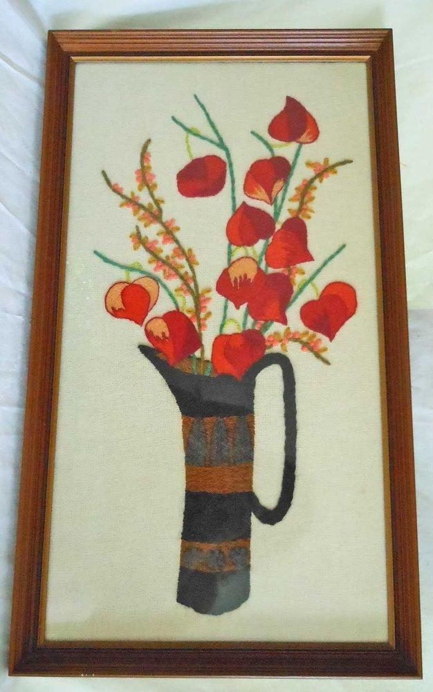 Vintage Mid Century Modern Crewel Needle Work Flowers Chinese Lantern Framed
