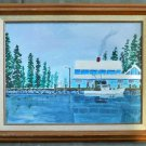 Alaska Fishing Snow Vintage Folk Art Painting Gas Dock Marine Trawler Crabs