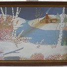 Vintage Painting Winter Snow Landscape Birch Trees Deer Cabin Brook Zara M Kinne