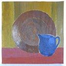 Antique Watercolor Painting Marilyn Morris 1943 Still Life Geometric Cubist Deco