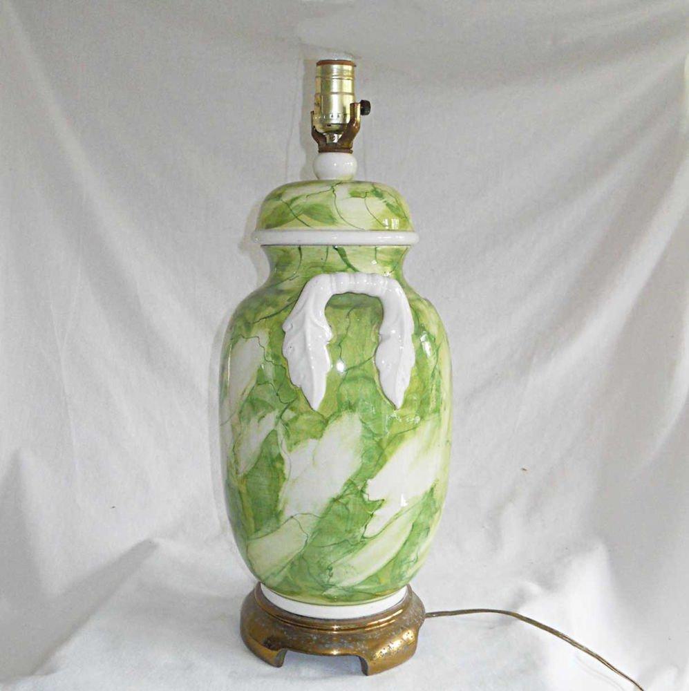 Paul Hanson Lamp Chinoiserie  Green White Regency Handled Urn Vintage Pottery