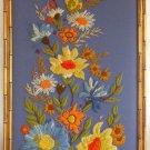 Modernist Needlework Crewel Flowers Massive Panel Vintage Botanical Still Life