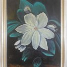 Vintage Flower Painting Anatomy White Flower Original Oil A Trazarry Botanical