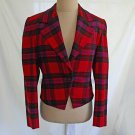 Ungaro Ter Red Plaid Jacket Cropped Nipped Deadstock Trophy Blazer Vintage 6