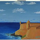 Vintage Painting Morro Castle Havana Cuba Harry Leigh McCune Folk Outsider 79