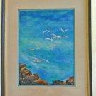 Vintage Modernist Painting Northern California Rocky Coast MC Green Ornithology