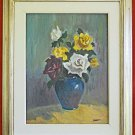 Roses Vintage Painting Still Life Sorell Original Bouquet Framed Floral Flower