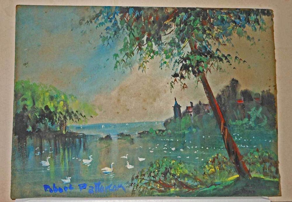 Vintage Original Painting Robert Paterson Castle Swan Lake Landscape Romantic