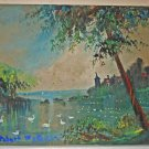 Vintage Original Painting Robert Paterson Castle Swan Lake Landscape Romantic