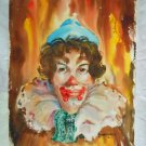 Vintage Original Watercolor Painting Clown Marjorie Kubala Circus Performer