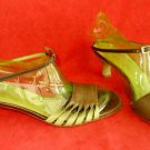 Vintage Salvatore Ferragamo Sandals Ankle Wrap Kitten Color Block Peep Toe 9.5B