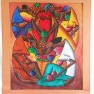 Haitian Painting Original K Sanon Tropical Modernist Detailed Faces Caricature