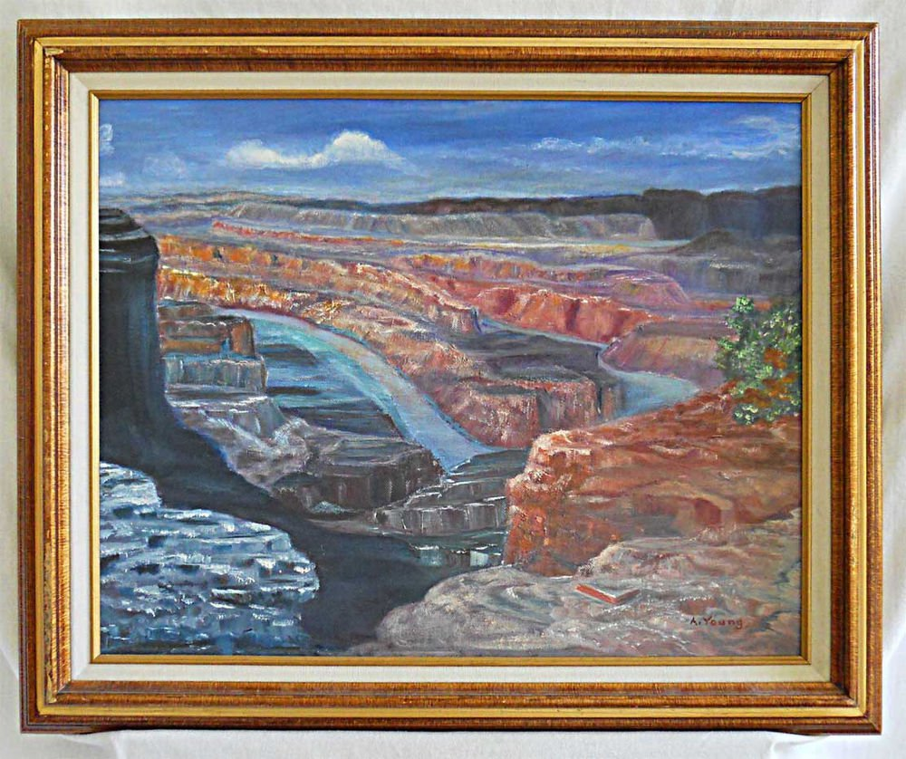 Deadhorse Point Utah Vintage Oil Painting Plein Air Western Landscape A Young
