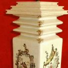 Vintage Mid Century Modern Japanese Lamp Hand Painted Scenic Musicians Painting