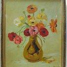 Vintage Original Oil Painting Roughton Poppies Flowers Still Life Impressionist